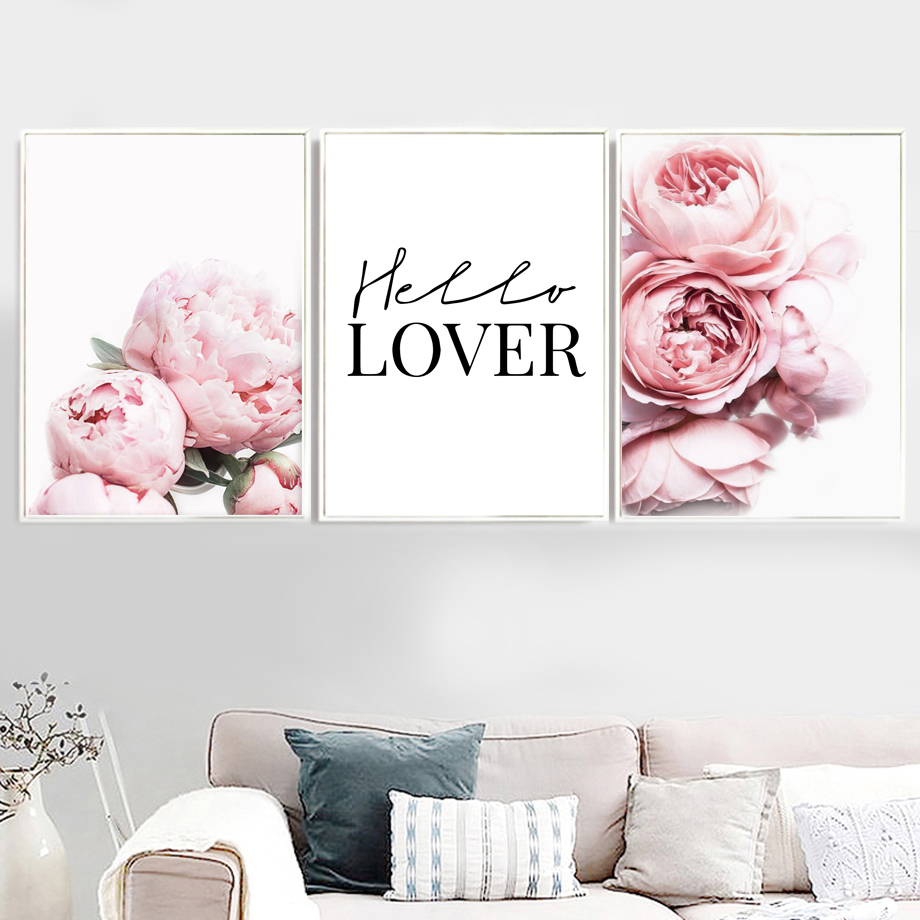 Pink Peony Flower Cactus Quotes Landscape Wall Art Canvas Painting Nordic Posters And Prints Pictures For Living Room Decor
