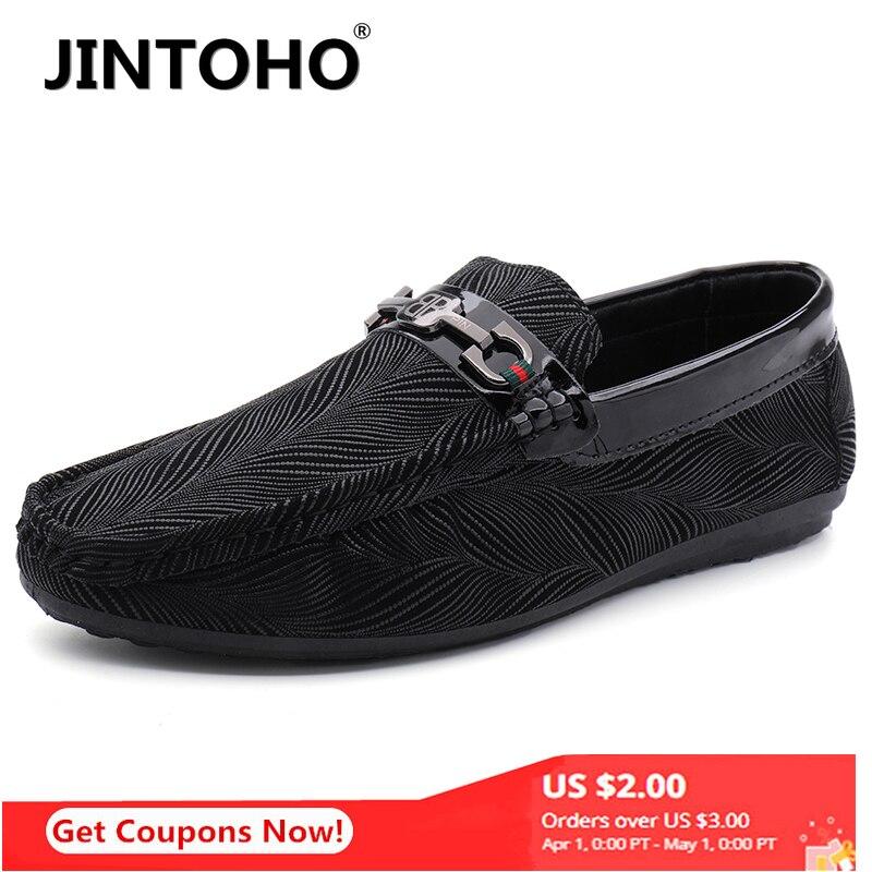 JINTOHO 2020 Fashion Men's Casual Peas Shoes Lazy Shoes Men's Shoes Men's Loafers Lightweight Leather Men's Zapatos De Hombre