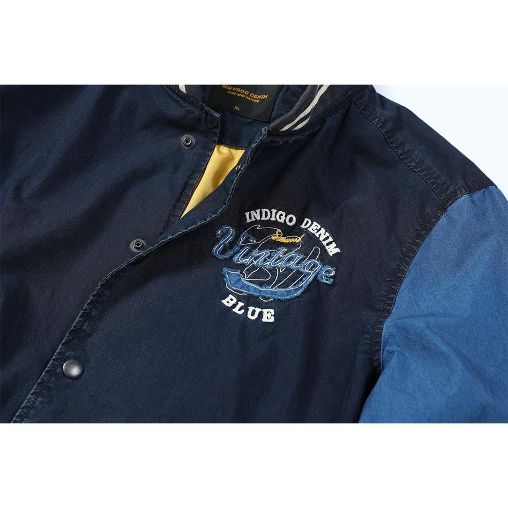 Image 4 - SIMWOOD 2020 spring Winter New Indigo Bomber Jacket Men Fashion  embroidery baseball contrast jackets fashion Vintage coats  90372Jackets