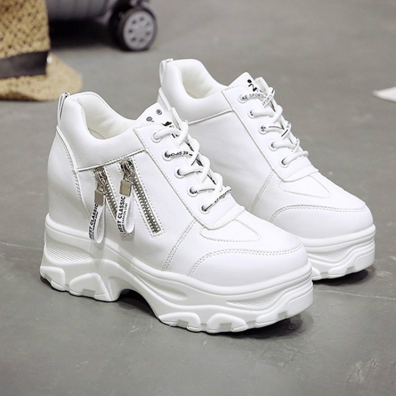 Platform Women Shoes 2019 New Fashion Dad Shoes Spring Female Casual Sneakers Wedge High Heel Beige/White Sneakers Zipper