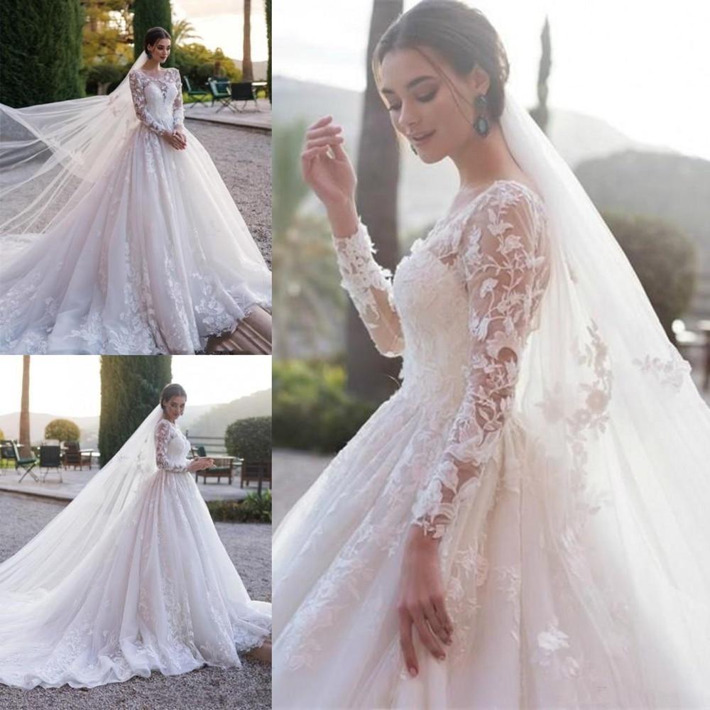 Simple Long Sleeve Wedding Dress A Line Sheer Neck Appliqued Robe Dubai Mariage Tulle White Ivory Wedding Dress Court Train Wedding Dresses Aliexpress