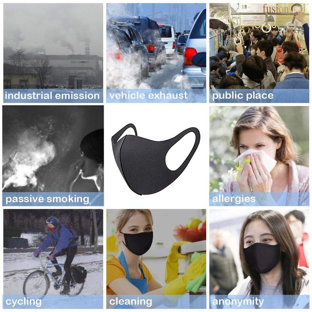 Sponge PM2.5 Black mouth Mask anti dust mask Activated carbon filter Windproof Mouth-muffle bacteria proof Flu Face masks Care 1
