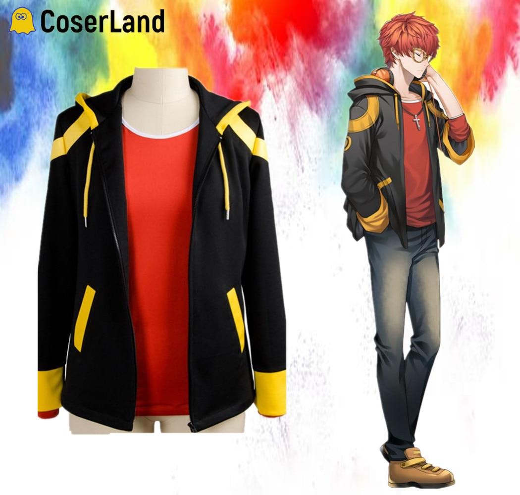 Orange Wig Jacket T-Shirt Costume Short Seven Hoodies Mystic Messenger Saeyoung Choi