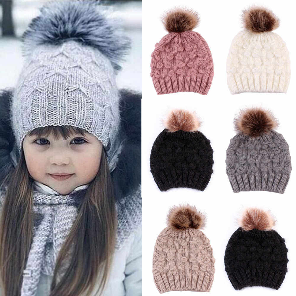 Cute Toddler Kids Girls Boys Winter Warm Crochet Knitted Hat Infant Baby Beanie Solid With Cute Pom Ball Fashion Casual Cap