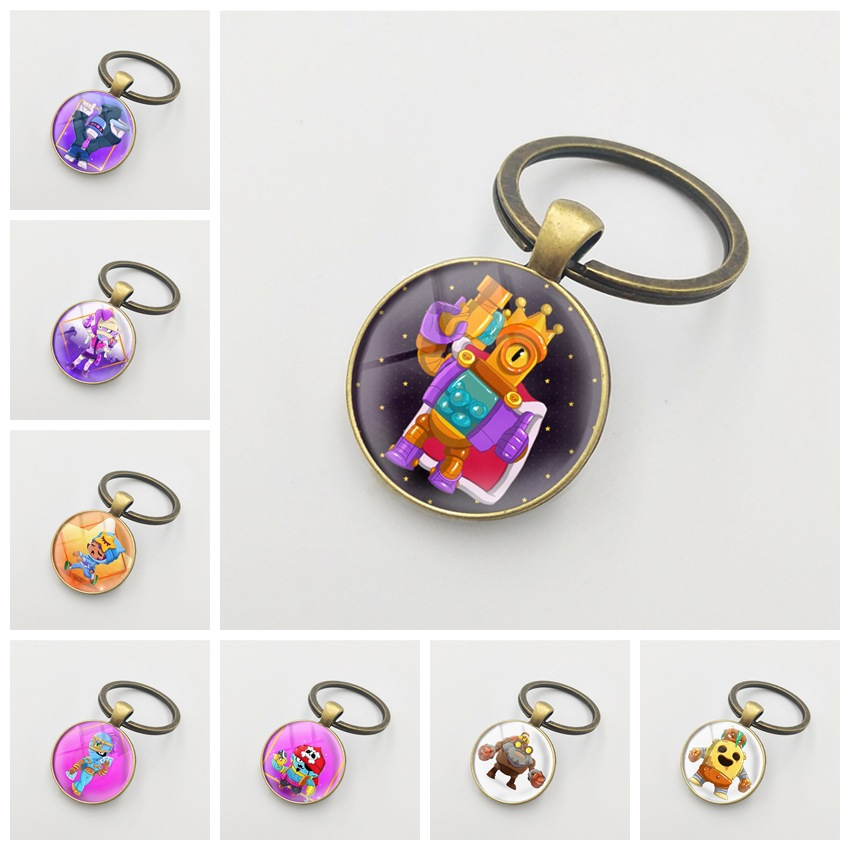 Brawl Cartoon Stars Hot Game 3D Metal School Phone Key Ring Keychain Pendant Key Holder Ring For Players Men Women Gift