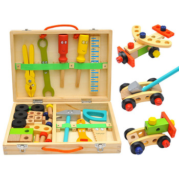 Montessori Toys Nut DIY Wooden Disassembly Screw Baby Multifunctional Repair Tool Set Hands-on Assembly Kid Simulation Toy Gift