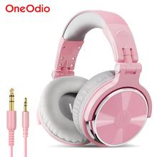 Oneodio 핑크 헤드폰 마이크와 게임 헤드셋 유선 전문 DJ 스튜디오 스테레오 헤드폰 PC 컴퓨터 여자 여자