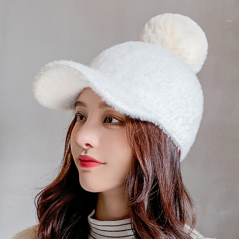 COKK Winter Hat Women Baseball Cap With Pompon Faux Fur Ball Cold Proof Thick Warm Solid Color Fashion Casual Gorras Female New 3