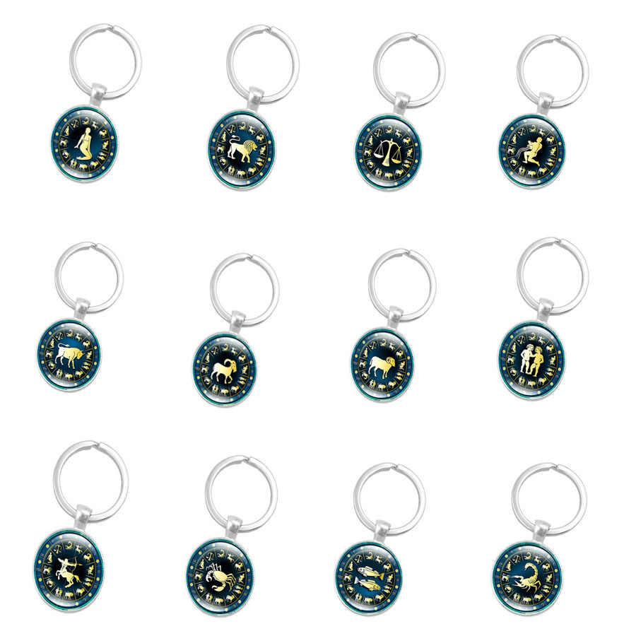 12 konstelacji biżuteria breloczki znaki zodiaku brelok breloki torba samochód okrągły portachiavi sleutelhanger wisiorki mężczyźni kobiety