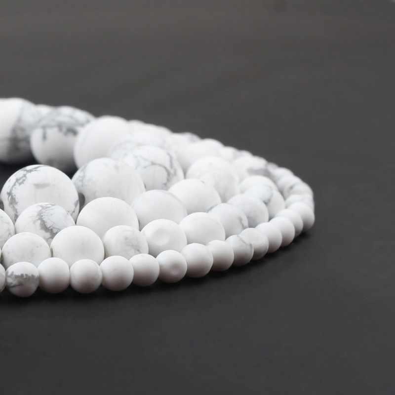 4/6/8/10mm Natuurlijke Saaie Polish Matte Wit Turkoois Howliet Kralen Ronde Losse Kralen voor Sieraden Maken Armband 15''
