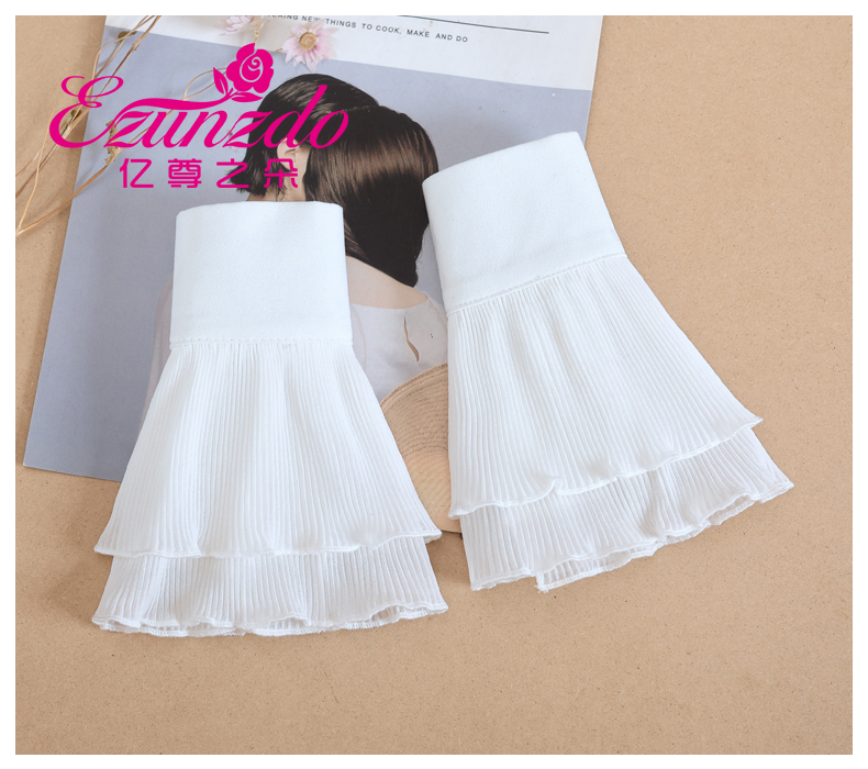 Fasion New Wild Double-layer Lace Fake Sleeves Children Decoration Fake Sleeves Wrist 1 Pair Fashion Apparel Accessories