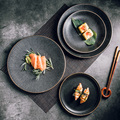 Creative Frosted Black Western Plate Simple Fashion Ceramic Plate Restaurant Plate Rice Plate Steak Plate