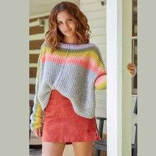 TEELYNN suéter de rayas multicolor de gran tamaño, jersey de manga larga para mujer, jersey cálido de otoño e invierno 2019, suéter suelto bohemio