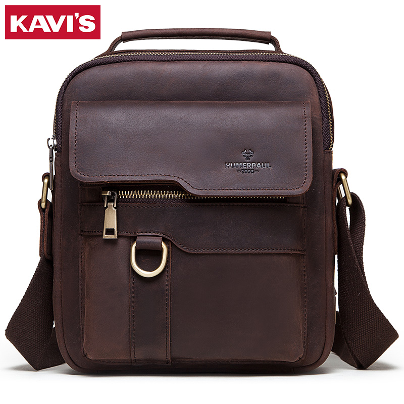 KAVIS 2020 New Cowhide Genuine Leather Shoulder Bags Men Messenger Bag Men Handbag Business Crossbody Casual Famous Sling Sac