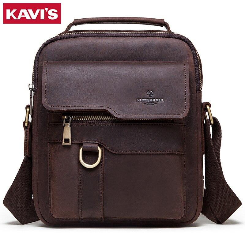 KAVIS 2020 New Cowhide Genuine Leather Shoulder Bags Men Messenger Bag Men Handbag Business Crossbody Casual Famous Sling Sac