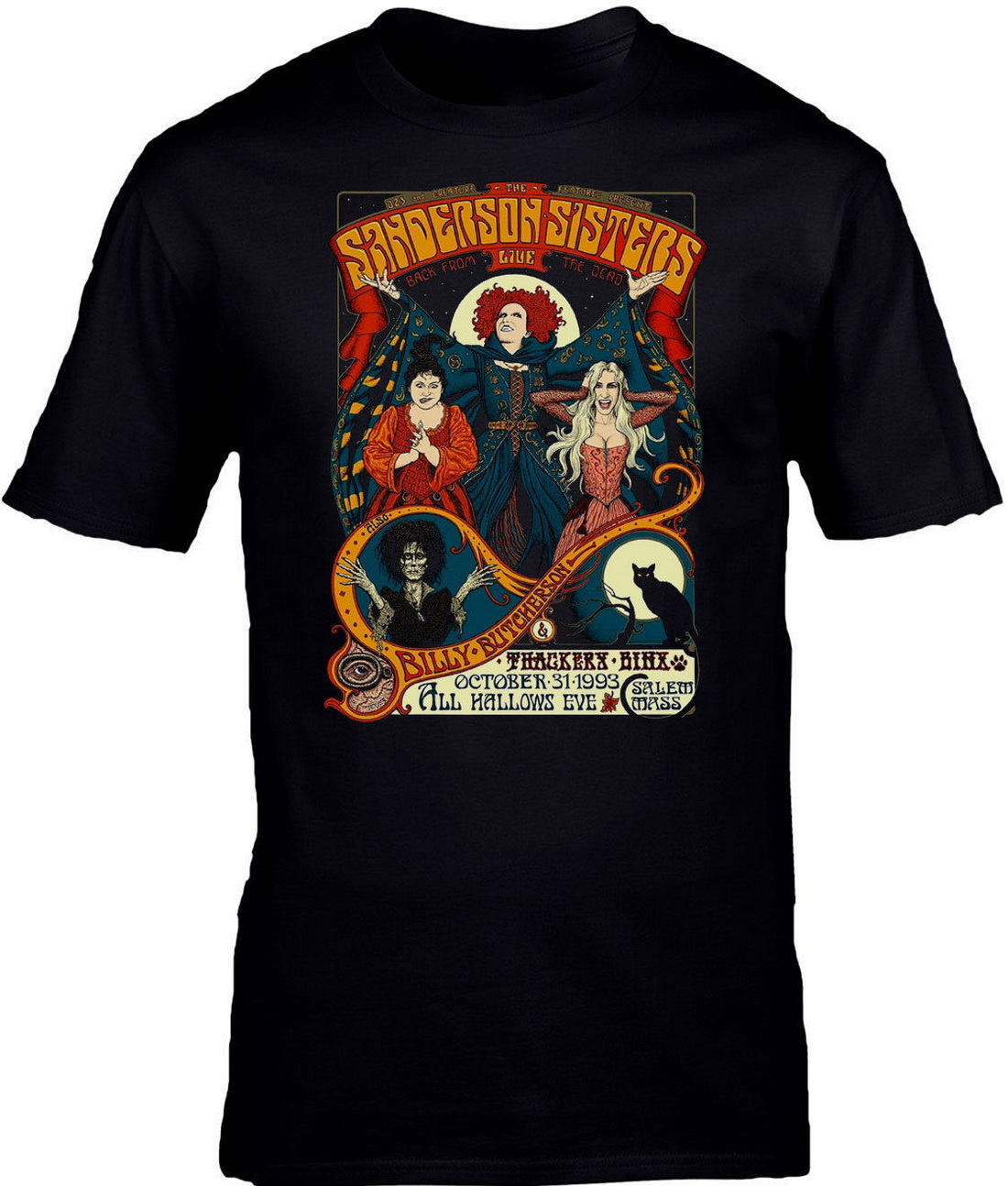 Halloween <font><b>Sanderson</b></font> <font><b>Sisters</b></font> <font><b>Hocus</b></font> <font><b>Pocus</b></font> Movie Inspired Retro Unisex Tops Tee T Shirt Printing Men Tops T-Shirt image