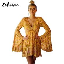Echoine Yellow Venus Print Dress in Sun Women Autumn Plunging V Neck Exaggerated Long Bell Sleeves Vintage Field Dresses недорго, оригинальная цена