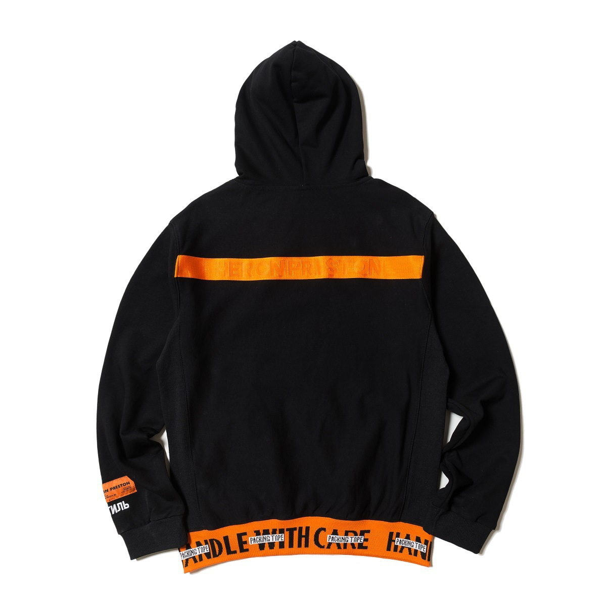 HP Black Orange High Quality Terry Lettered Joint Hem Hoodie Men And Women Couples Loose-Fit Celebrity Style Hoodie