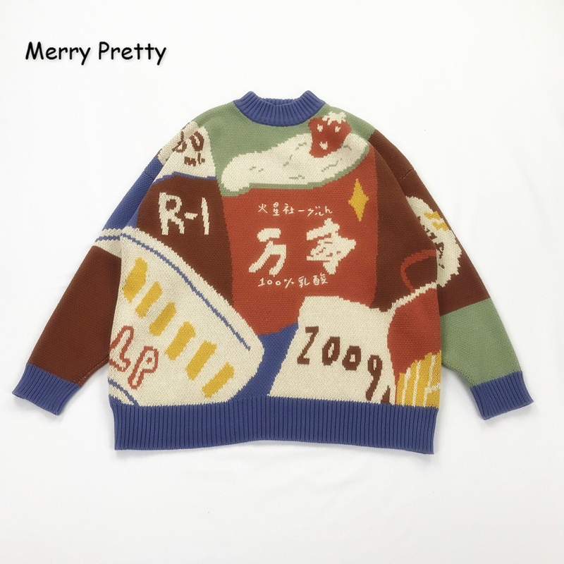 MERRY PRETTY Women Cartoon Embroidery Funny Knitted Sweaters 2019 Winter Thick Warm O-Neck Jacquard Sweater Femmf Knit Pullovers