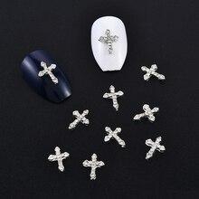 10 шт. классический полный Блестящие Стразы Крест 3d ногтей талисманы 10 шт./упак. сплав украшения для ногтей, инструменты для ногтей