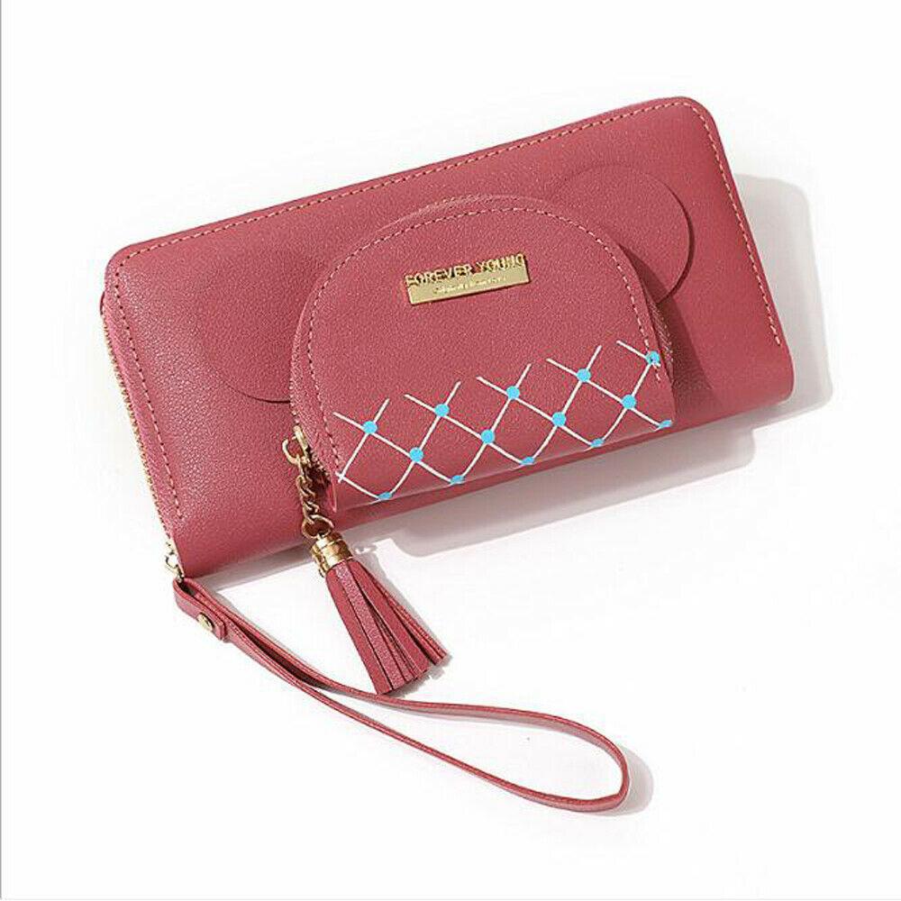 2019 New Women's Wallet Long PU Leather Double Side Fashion Clutch Bag Zipper Card Package