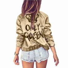 2019 New Spring Autumn Women Bomber Jacket Women Coat Crown Queen Print Long Sle