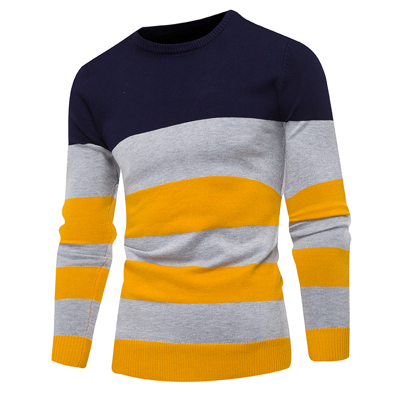 Mens Sweaters 2019  New Fashion Casual Jersey With Round Collar And Stripes Slim Sweater In Geometric Pattern Of Artificial Fibe