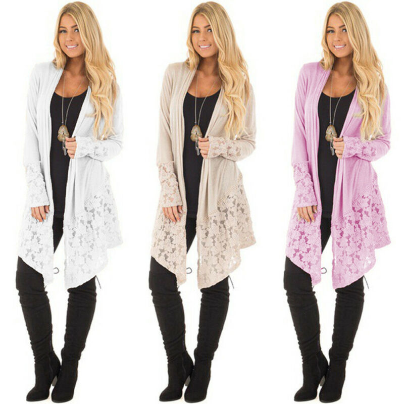Plus Size Womens Long Sleeve Knitted Cardigan 2019 New Casual Solid Sweater Sexy Back Lace Outwear Coat Jacket