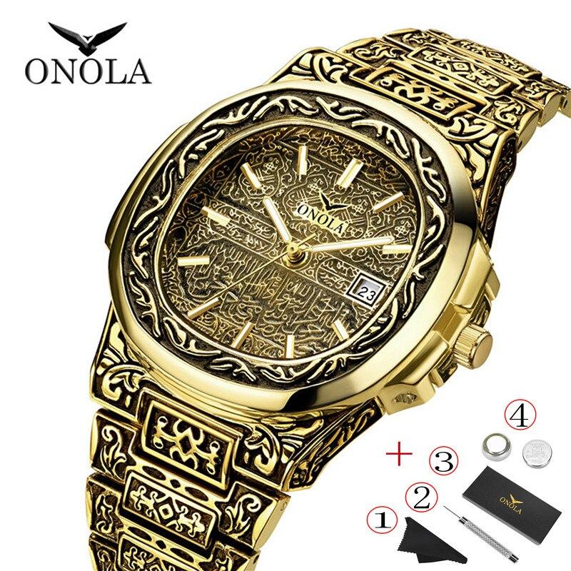 ONOLA Top Luxury Brand Gold Men Watch Engraving Retro Personality Designer Square Waterproof Male Wristwatch PP Stee LBelt Watch