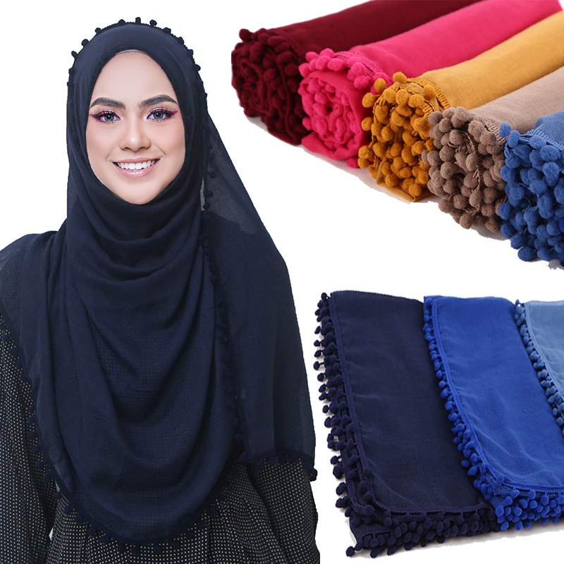 1 pc Women Cotton Scarf Pom Balls Winter Scarf plain ball shawls hijab muslim wrap headband 13 color scarves/scarf 180*80cm