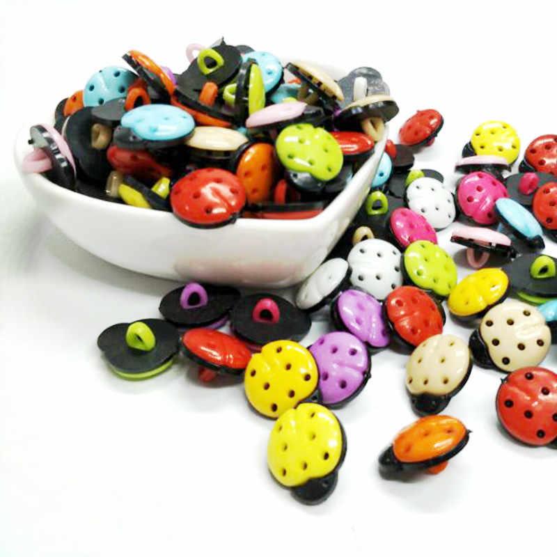 HL 30 Pcs Campuran Warna 15 Mm X 12 Mm Beetle Batang Plastik Tombol Anak Pakaian Jahit Aksesoris DIY scrapbookings