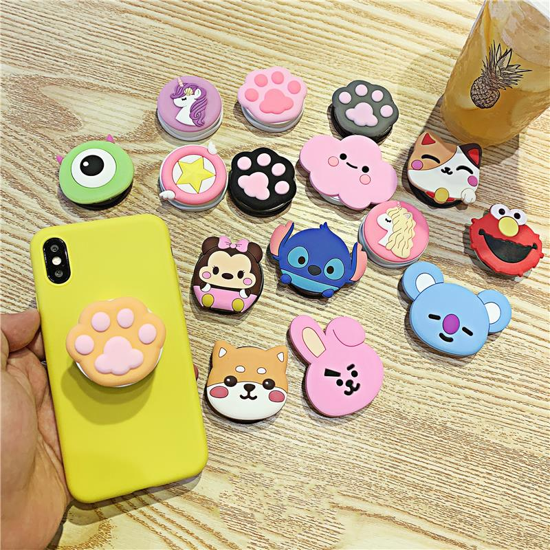 3D Silicone Cartoon Fold Finger Grip Phone Holder For Iphone Cute Mobile Phone Holder Stand Bracket