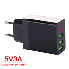 LED Display EU US 3 Port USB Charger 3A Mobile Phone USB Charger Fast Charging Wall Charger For Samsung S8 Xiaomi 9 vention quick charger 3 0 2 port usb charger eu plug white mobile phone charger for xiaomi htc google qc3 0 fast wall charger 3a