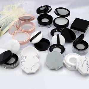 Image 1 - 1 個新ルースパウダーふるい化粧品プラスチックルースパウダーケース包装容器と 3 グラム 5g15g 20 グラム