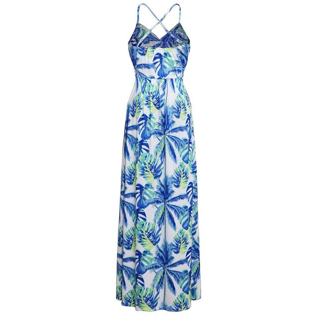 Ladies Print Floral Long Boho Bohemian Beach Summer Dress Women Sundress Sexy V-Neck Sleeveless Strap Maxi Vintage Dress Vestido 4