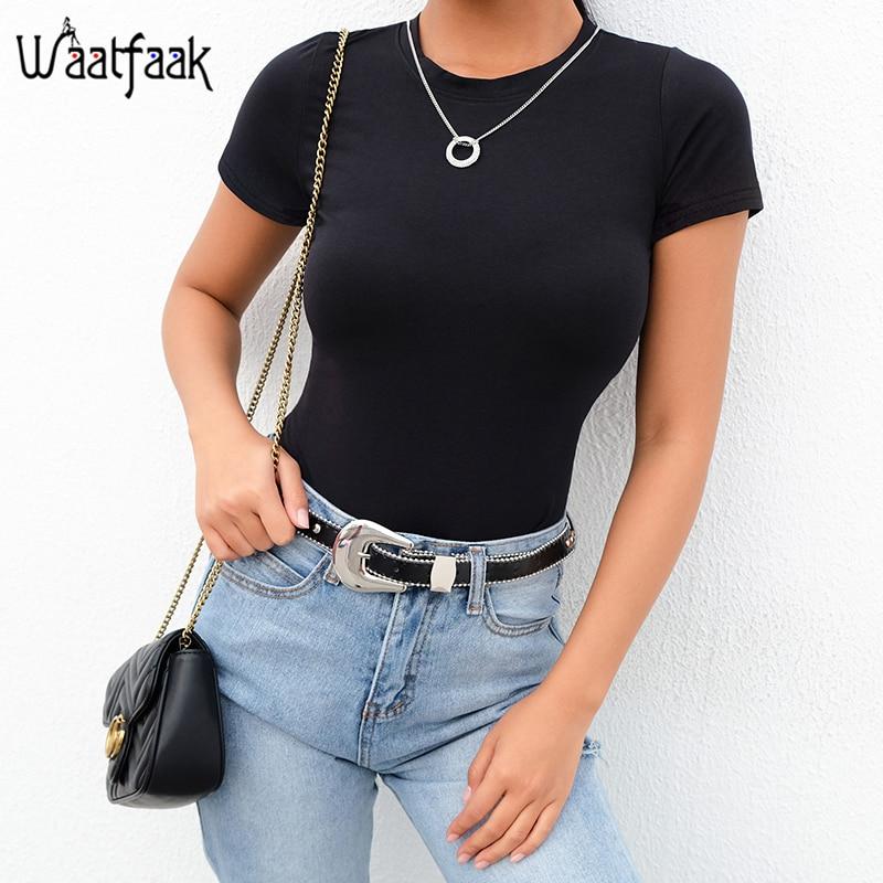 Waatfaak Fitness Short Sleeve Summer Bodysuits Romper Cotton Solid Black Bodycon Body Mujer Casual Overalls 2020 Office Bodysuit