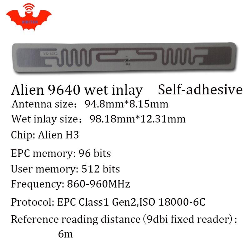 Купить с кэшбэком UHF RFID tag EPC 6C sticker Alien 9640 wet inlay 915mhz868mhz860-960MHZ Higgs3 100pcs free shipping adhesive passive RFID label
