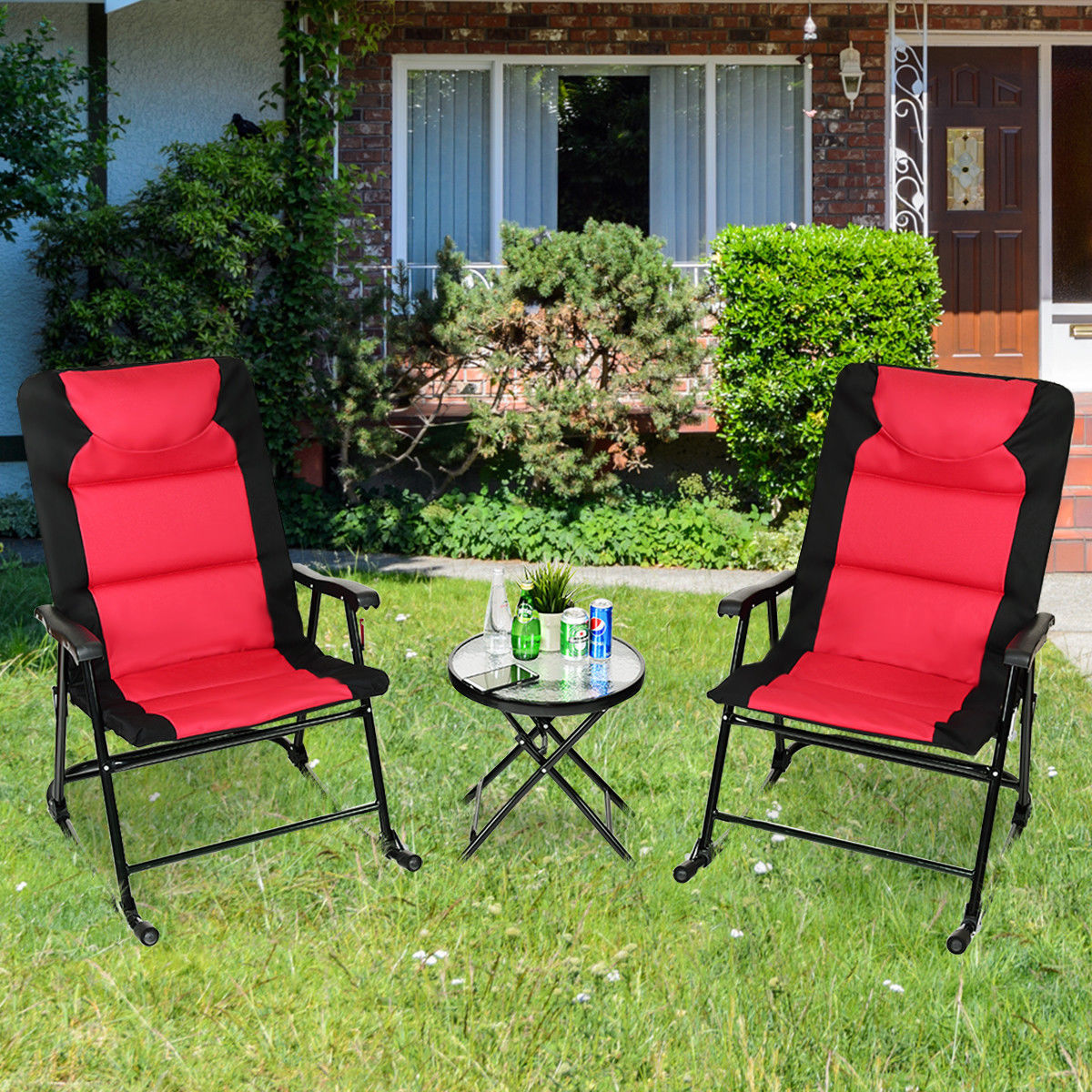 Costway 3 PCS Outdoor Folding Rocking Chair Table Set Bistro Sets Patio Furniture Red