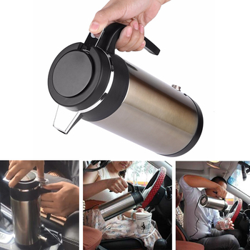 Convenient 1200ml 12V/24V  Stainless Steel Car Electric Heating Cup Car Cigarette Lighter Vehicle Water Heated Kettle Bottle