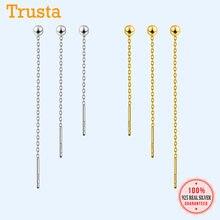 Trusta 100% 925 solide en argent Sterling boucle d'oreille petite perle liée 3cm 4cm 5cm pour les femmes bijoux de mode créative DS894