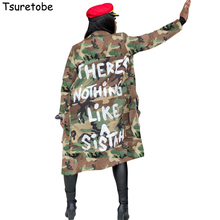 Tsuretobe Plus Size Camouflage Trench Coat Women Autumn Casual Letter Print Coat Pockets Long Sleeve Overcoat Female Outwear cheap Open Stitch Full SN-S3726-WWRU Turn-down Collar Wide-waisted Polyester