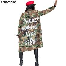 Tsuretobe Plus Size Camouflage Trench Coat Women Autumn Casu