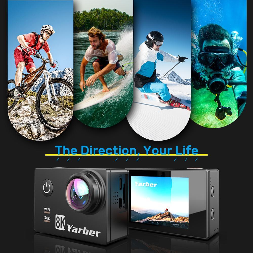 Nouvelle arrivée Yarber AR01 8K 20MP sport Action caméras vidéo WIFI Bluetooth camara deportiva sport action caméra casque vidéo Cam - 5