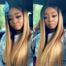 Ombre Honey Blonde Color Lace Front Human Hair Wig Straight Brazilian Remy Hair Glueless Lace Wig Pre Plucked Hairline Baby Hair