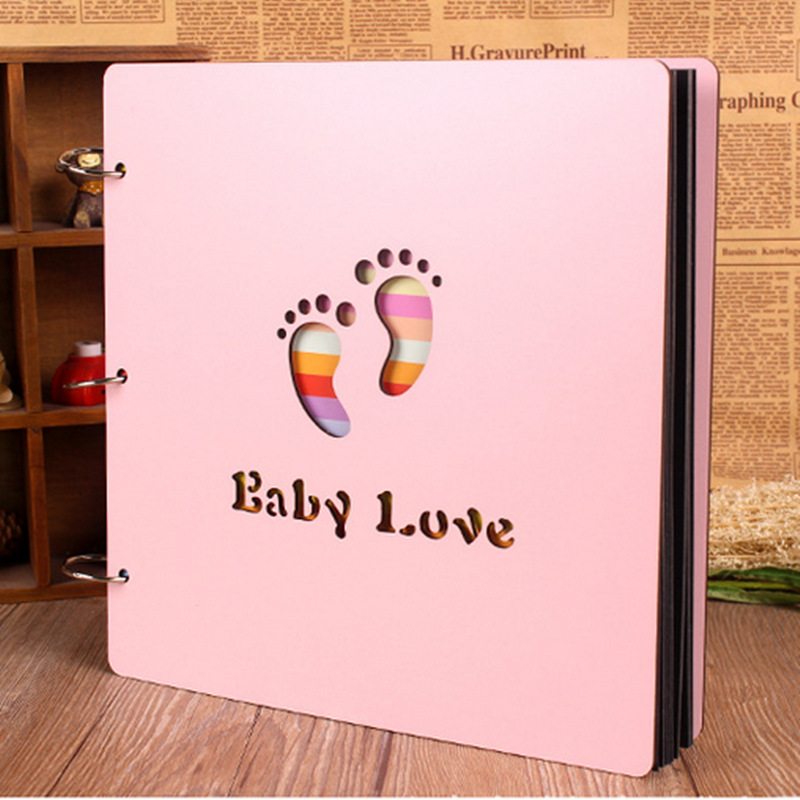 12inch Baby Photo Albums Color Wood Cover Albums Handmade Loose-leaf Pasted Photo Album Personalized Baby Lovers DIY Photo Album
