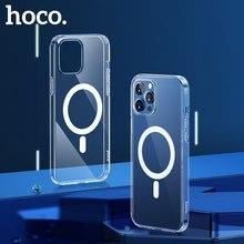 HOCO orijinal manyetik kılıfı iPhone 11 12 Pro Max 12 mini durumda Magsafe için kablosuz şarj çantasi darbeye dayanıklı koruma TPU kılıf