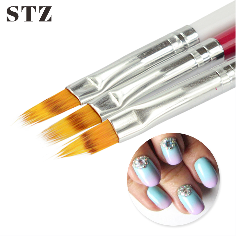 STZ 1pcs Nail Brush Ombre Soft Gradient Effect Pen Red/Black/White Manicure Tools For UV Gel Polish Nail Art Brush #285
