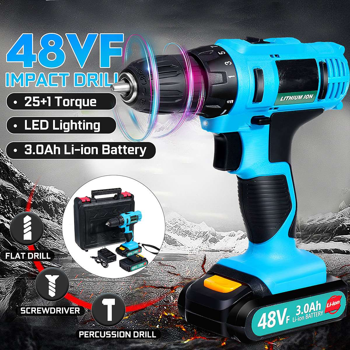 200W 48VF 21V  Electric Screwdriver Househeld Cordless 2 Speed Screwdriver With Rechargeable Battery Impact Drill Power Tool