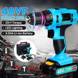 200W 48VF 21V elektryczny śrubokręt domowego bezprzewodowy 2 prędkości śrubokręt z akumulatorem wpływ wiertarka elektryczna w Wkrętaki elektryczne od Narzędzia na