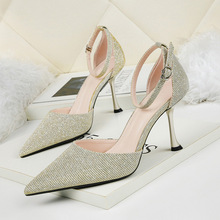 Liren 2019 Summer New PU Lady Fashion Party Sandals Sexy Women Buckle Pointed Toe High Thin Heels